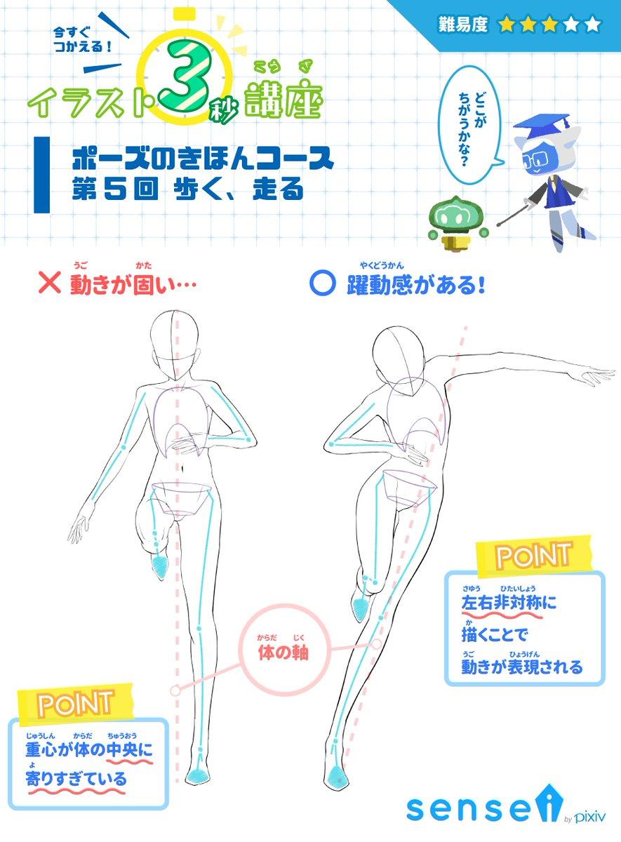 Pixiv描き方 Sensei On Twitter 走るポーズを正面から描くと動きが