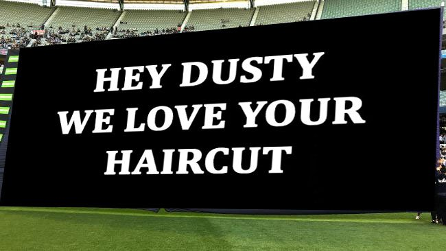 Collingwood's cheer squad not taking any chances with their banner thi...