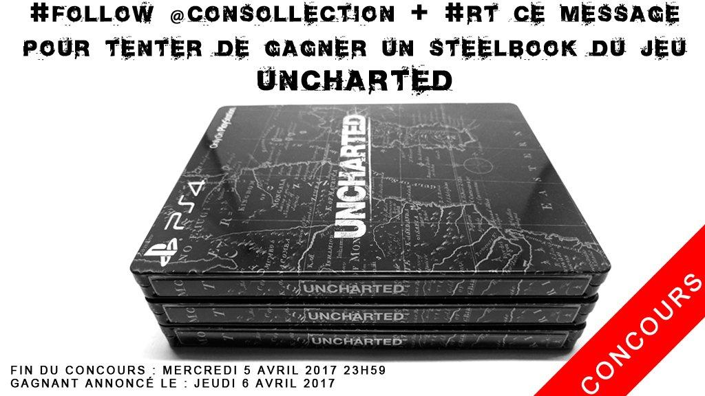 #Concours #Follow @consollection + #RT  tente de gagner un #steelbook très rare du jeu #Uncharted  Plus d&#39;info :  http://www. consollection.com/jeux-video/goo dies/steelbook-ps4-uncharted-black-8759.html &nbsp; … <br>http://pic.twitter.com/mEdSWc46t2