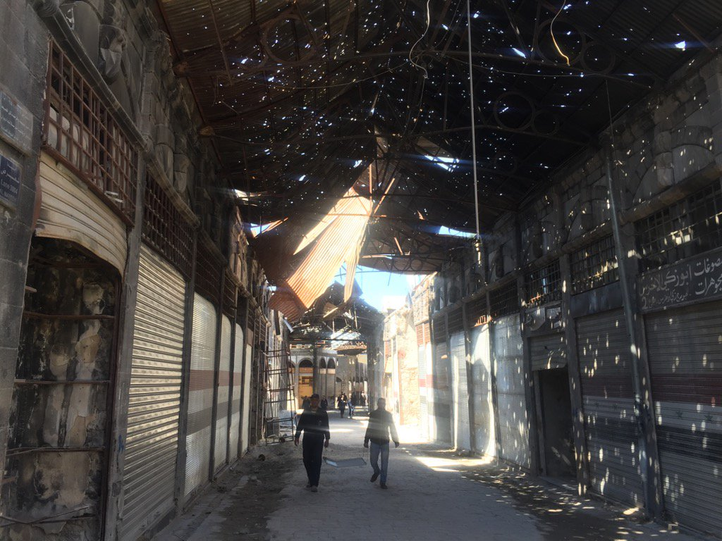 Old City #Homs - about 30 shops now open in once thriving souk of 5000...