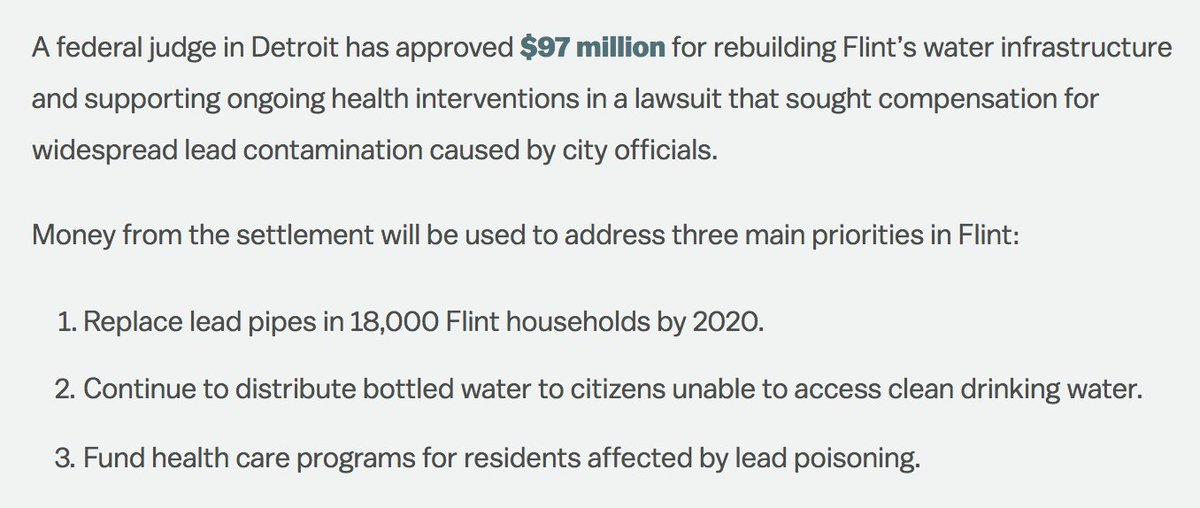 18,000 homes in Flint, Michigan will soon get lead-free pipes: https:/...