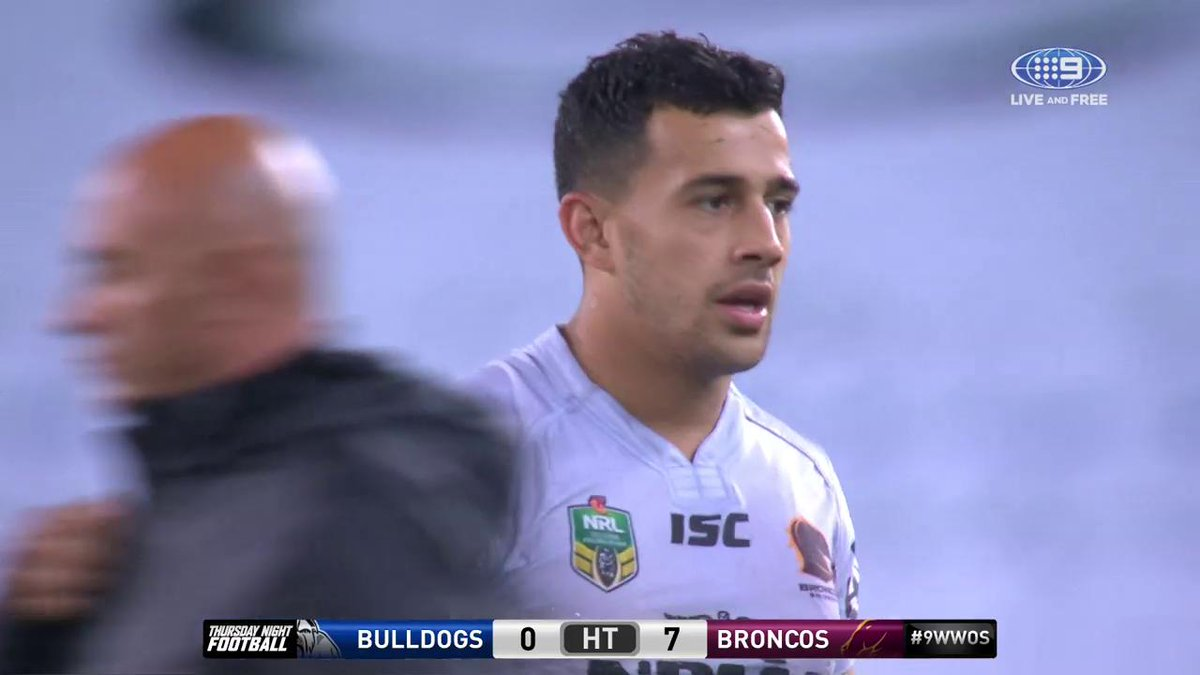 HALF-TIME! The @Brisbanebroncos lead 7-0 in what has been a low-scorin...