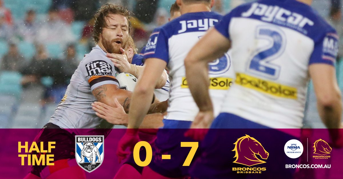 Halftime #NRLBulldogsBroncos 0-7 @jordankahu with the left foot field...
