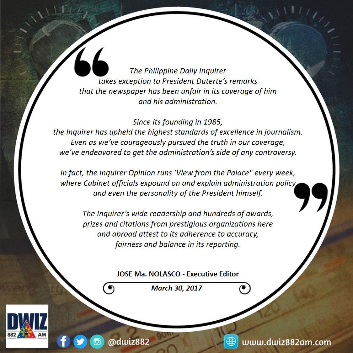 #READ Inquirer Statement on President Duterte's Remarks |via @aileentaliping<br>http://pic.twitter.com/5psNjMkEc0
