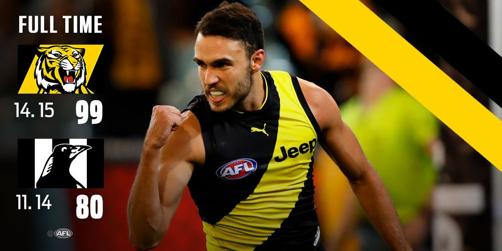 Revenge for the Tigers after last year's heart-stopper. #AFLTigersPies...