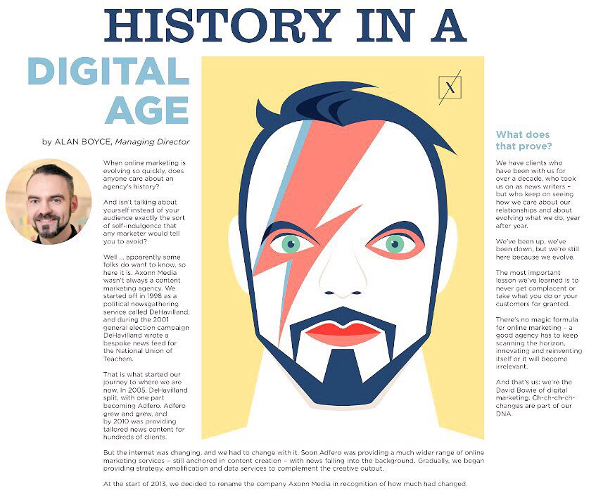 Come to stand 18 to grab a copy of @AxonnMedia #thecontentmarketer newspaper and find out why our MD @Boycealan has been bowiefied #OiConf https://t.co/OOFfQhK28b