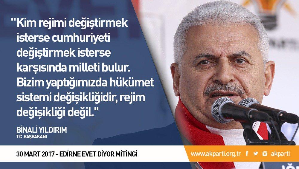 'Bizim yaptığımızda hükümet sistemi değişikliğidir, rejim değişikliği...