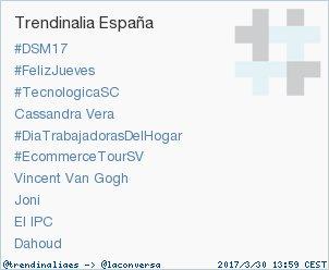 Ya somos Trending Topic 1 en España. Muchas gracias a tod@s! ;) #DSM17...