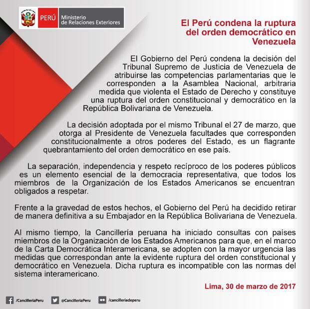 Condeno la ruptura de la democracia en Venezuela. Retiro de manera definitiva a mi Embajador en ese país. https://t.co/SIpJ7JXteN