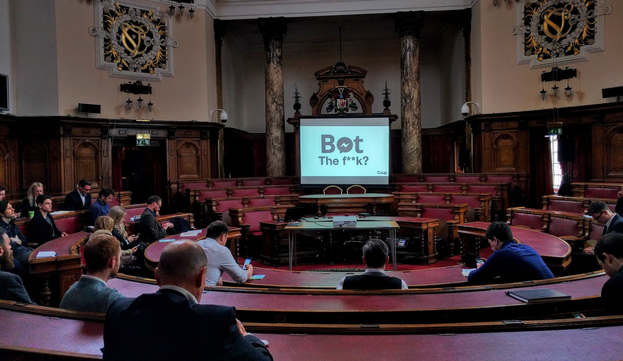 Council meeting? No! A tech talk on #chatbots, of course, from #oiconf organiser @coupmedia_paul at Cardiff city hall. https://t.co/dhDJF1PrH4