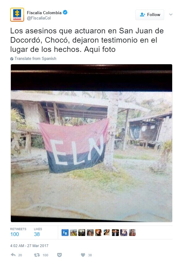 Massacre was reported in Colombia's San Juan de Docordó municipality, Chocó. Attorney General tweets picture to proof ELN is responsible.