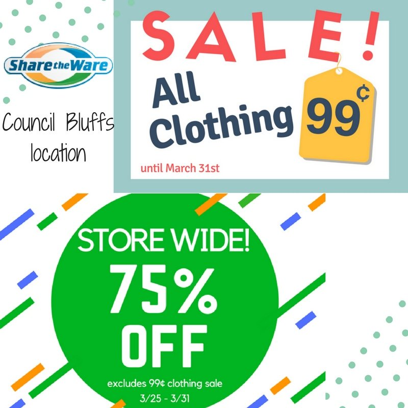 Tomorrow is the last day to take #advantage of these #amazing #sales! Stop in today! #Shopwithapurpose #SharetheWare #CouncilBluffs<br>http://pic.twitter.com/RMc2XEnP2F