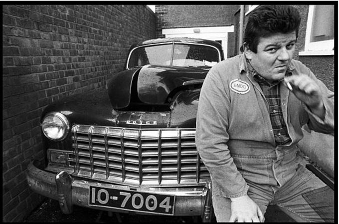 Happy birthday Robbie Coltrane. At home in Kilburn with his Dodge. Photo: David Corio, 1980
