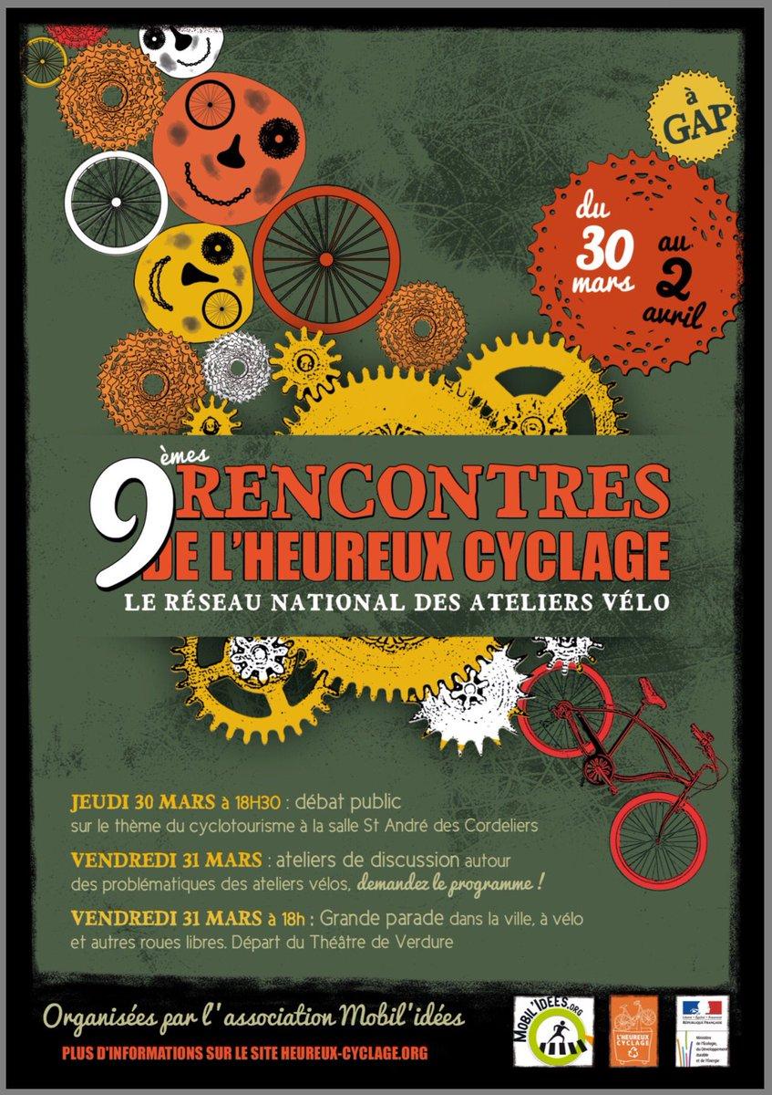 [Heureux Cyclage] tient actuellement ses 9è rencontres du 30mars au 2avril 2017 à #Gap  https://www. heureux-cyclage.org/rencontres-201 7.html &nbsp; … <br>http://pic.twitter.com/gnJMgpsKM0