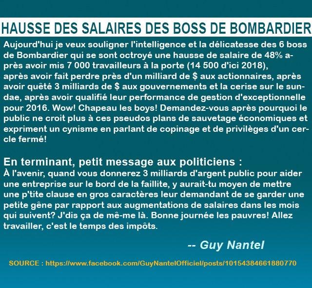 Les patrons de #Bombardier avec la complicité du #PLQ de #Couillard se foutent complètement des Québécois. Réveillons-nous ! #polqc #assnat<br>http://pic.twitter.com/opESPyYneB