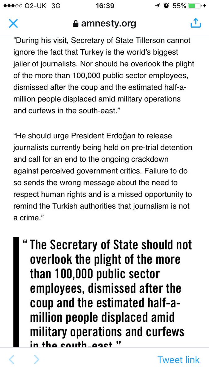 Secretary of State #RexTillerson must not ignore imprisoned journalists or the plight of over 100k sacked employees while visiting #Turkey<br>http://pic.twitter.com/e0seA2hCDj