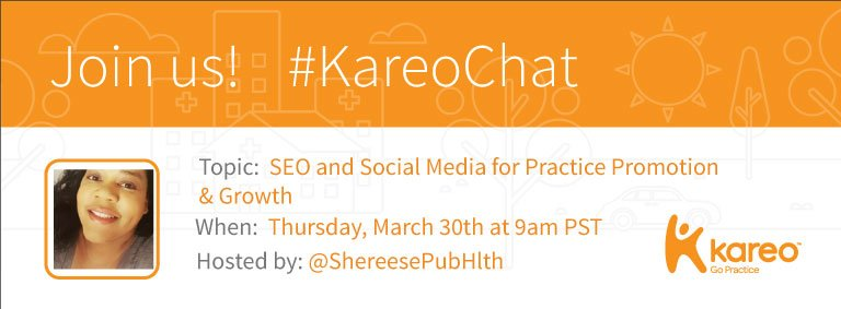 Welcome to #KareoChat with host @ShereesePubHlth! https://t.co/WnF9JGtGOt Let's talk #SEO & #SocialMedia for Practice Promotion & Growth! https://t.co/QAM2wdODga