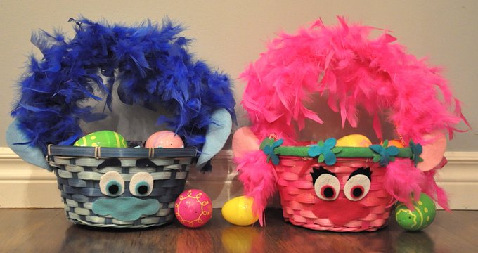 DIY Troll-themed Easter baskets