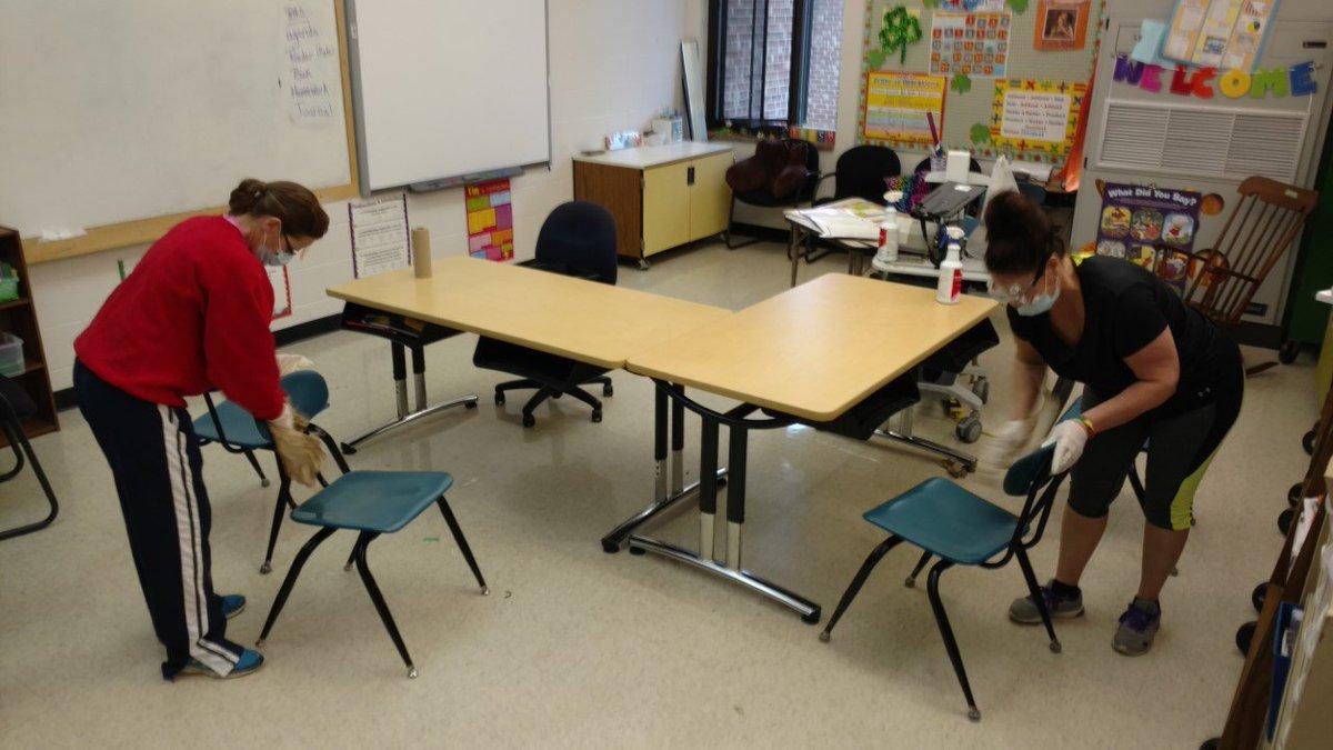 Dublin Elementary Monday : Teachers deep cleaning classrooms