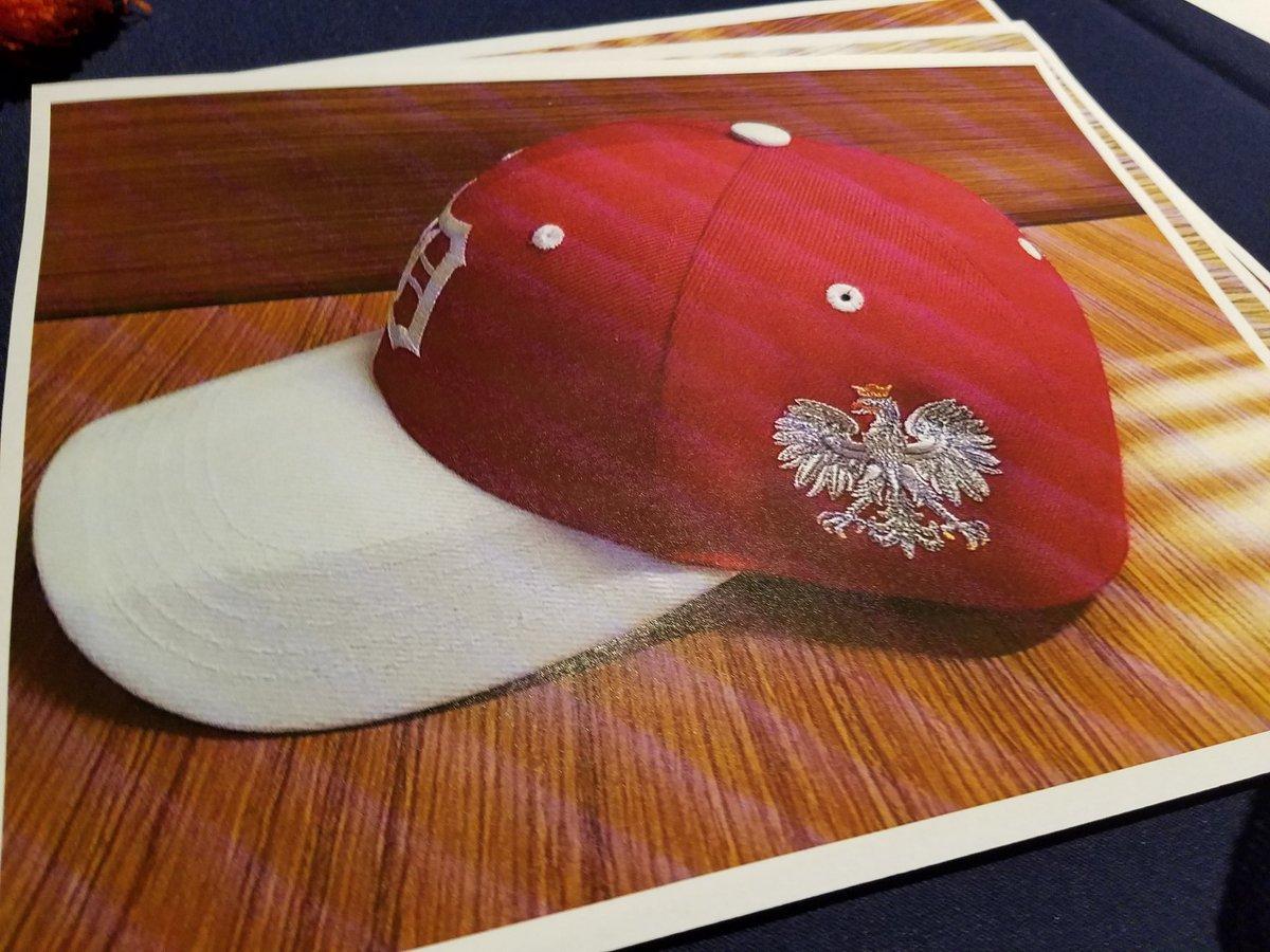 bill shea on twitter photo of the detroit tigers cap for polish american night this season.u2026