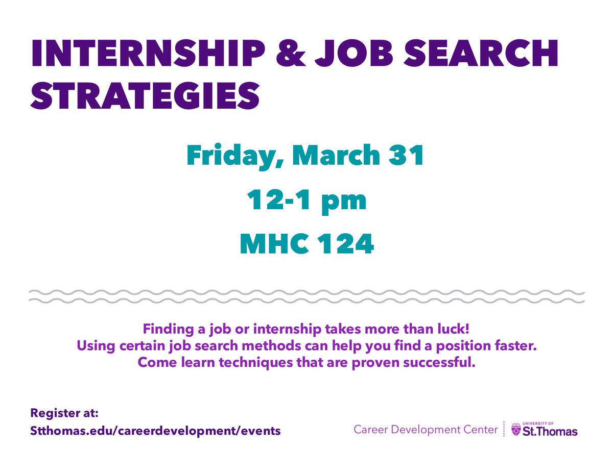 services and programs career development university of st ust career ustcareersee you tomorrow for internship job search strategies at noon in mhc 124 t co f5pzrumsj7