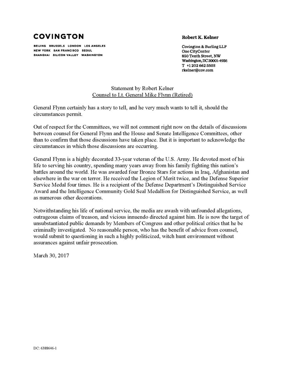 robert kelner on twitter a statement by counsel to general flynn