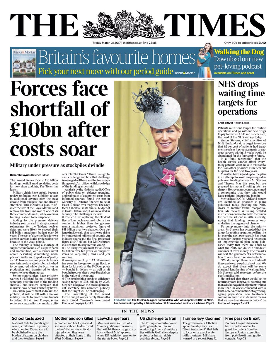 Bbc News Uk On Twitter Friday S Times Forces Face Shortfall Of 10bn After Costs Soar Via Hendopolis Tomorrowspaperstoday
