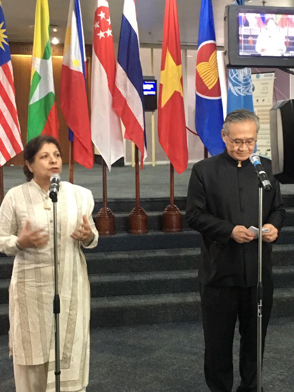 Thai Foreign Minister H.E. Don Pramudwinai and ESCAP ES Dr.Akhtar briefing the media on ASEAN-UN partnership. #Partners4Region https://t.co/iIk9CeiW8D