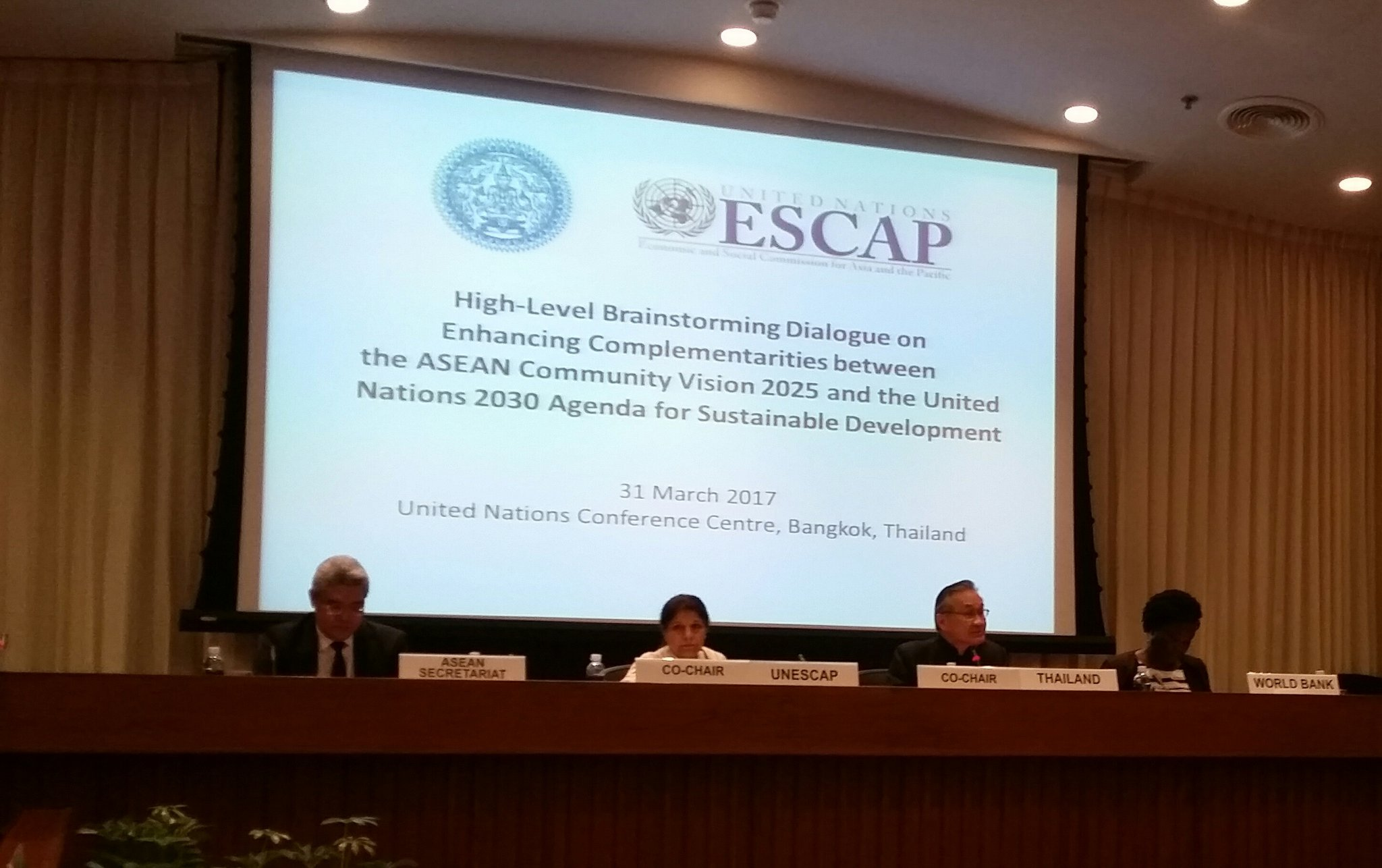 Enhancing complementarity between #ASEAN Vision 2025 & #SDGs : #Thailland Minister of Foreign Affairs opens high level dialogue @UNESCAP https://t.co/b6fCriApMN