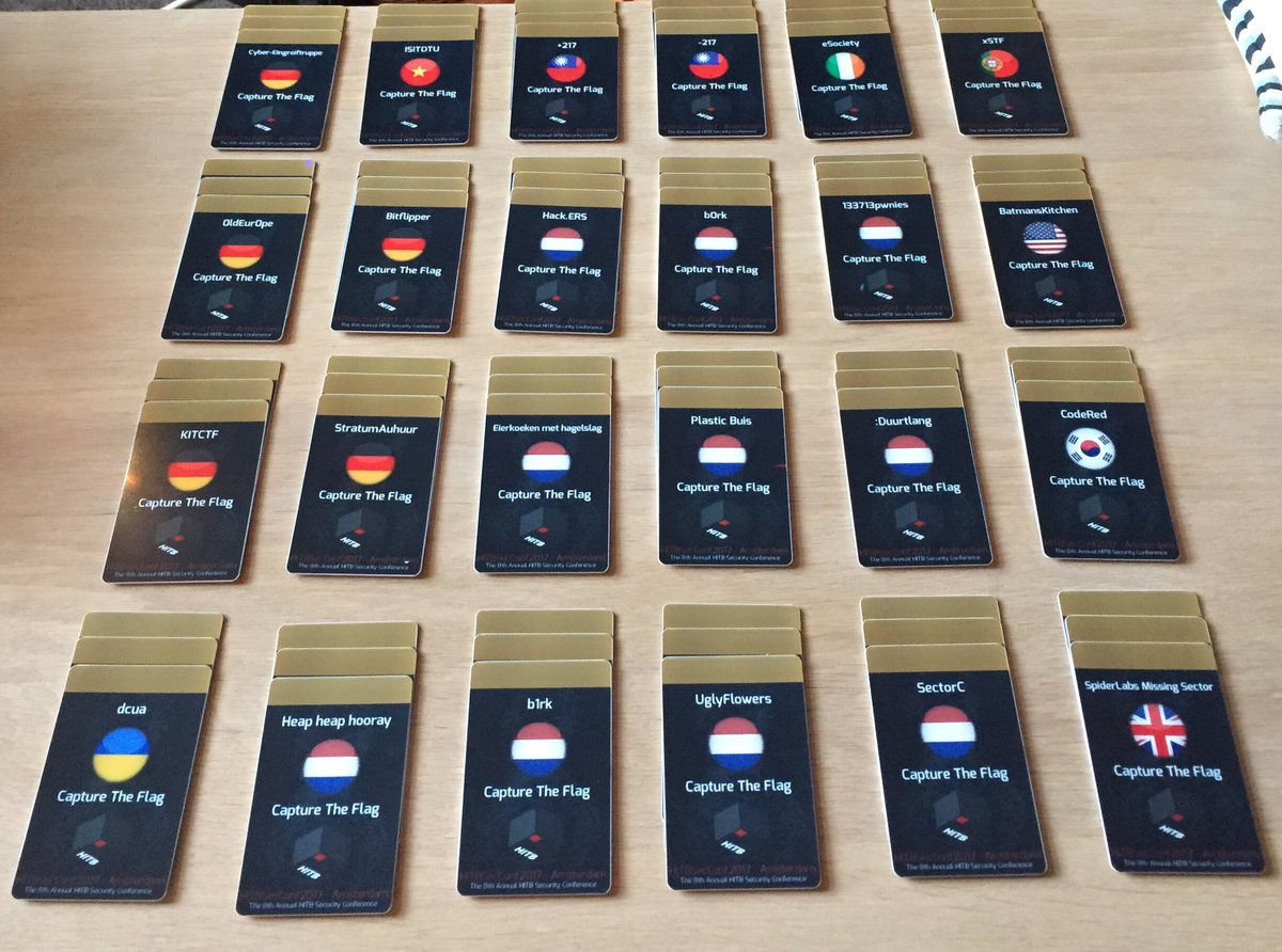 #HITB2017AMS #CTF team badges are ready! https://t.co/GfW8bkHvRW