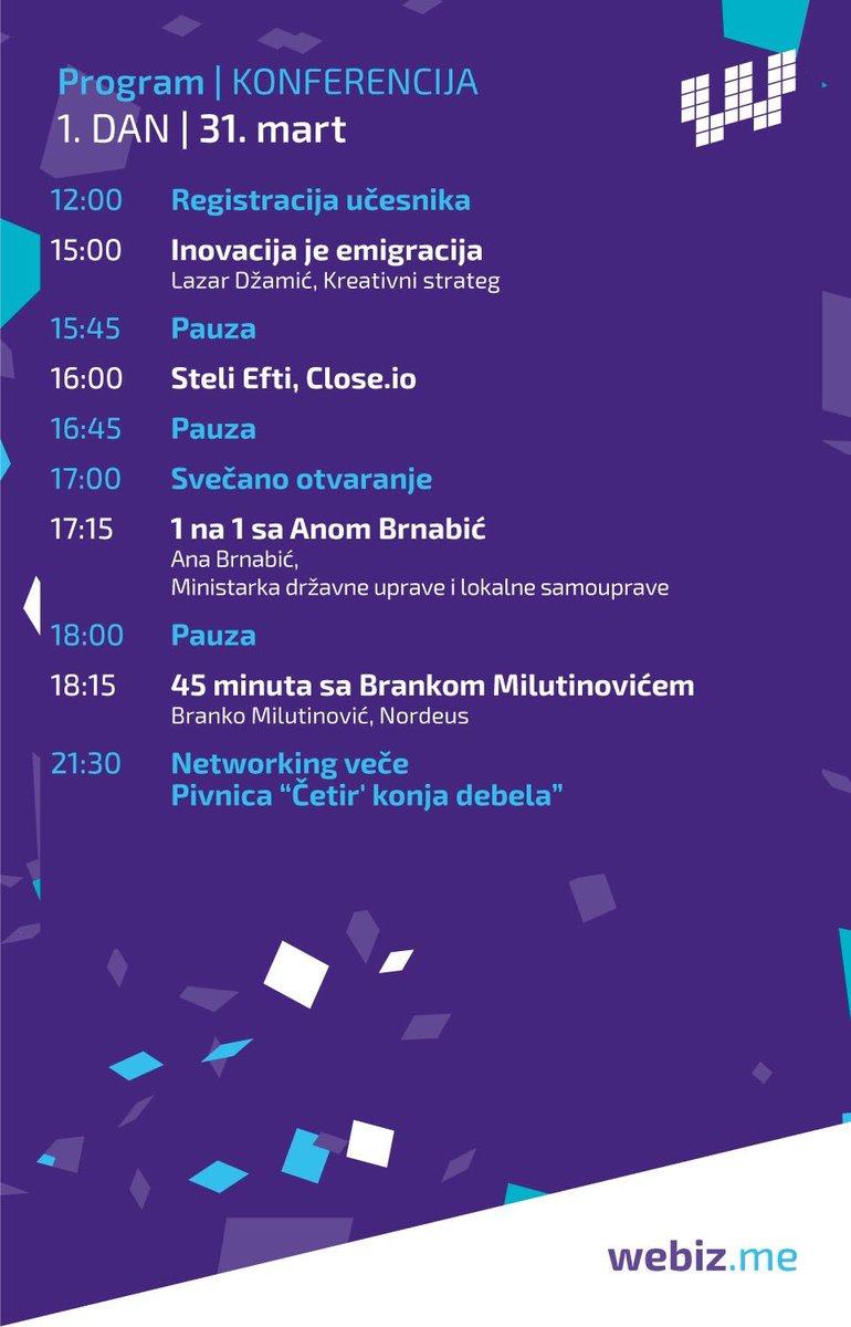 Dobrodošli na #Webiz |  program konferencije za 31. mart https://t.co/1Pe1y4t4B2
