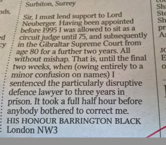 Lovely letter in @thetimes today on raising the retirement age of judges. https://t.co/tMWb4f5Doy