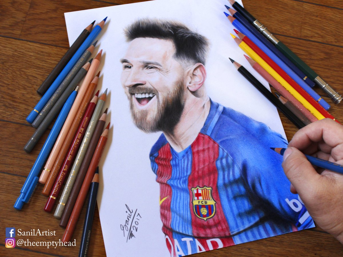 Sanilartist on twitter drawing messi pencil faber castell