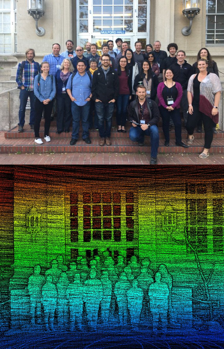 One conventional photo, and one with side looking Lidar, of bootcamp participants in front of Mulford Hall, UC Berkeley.