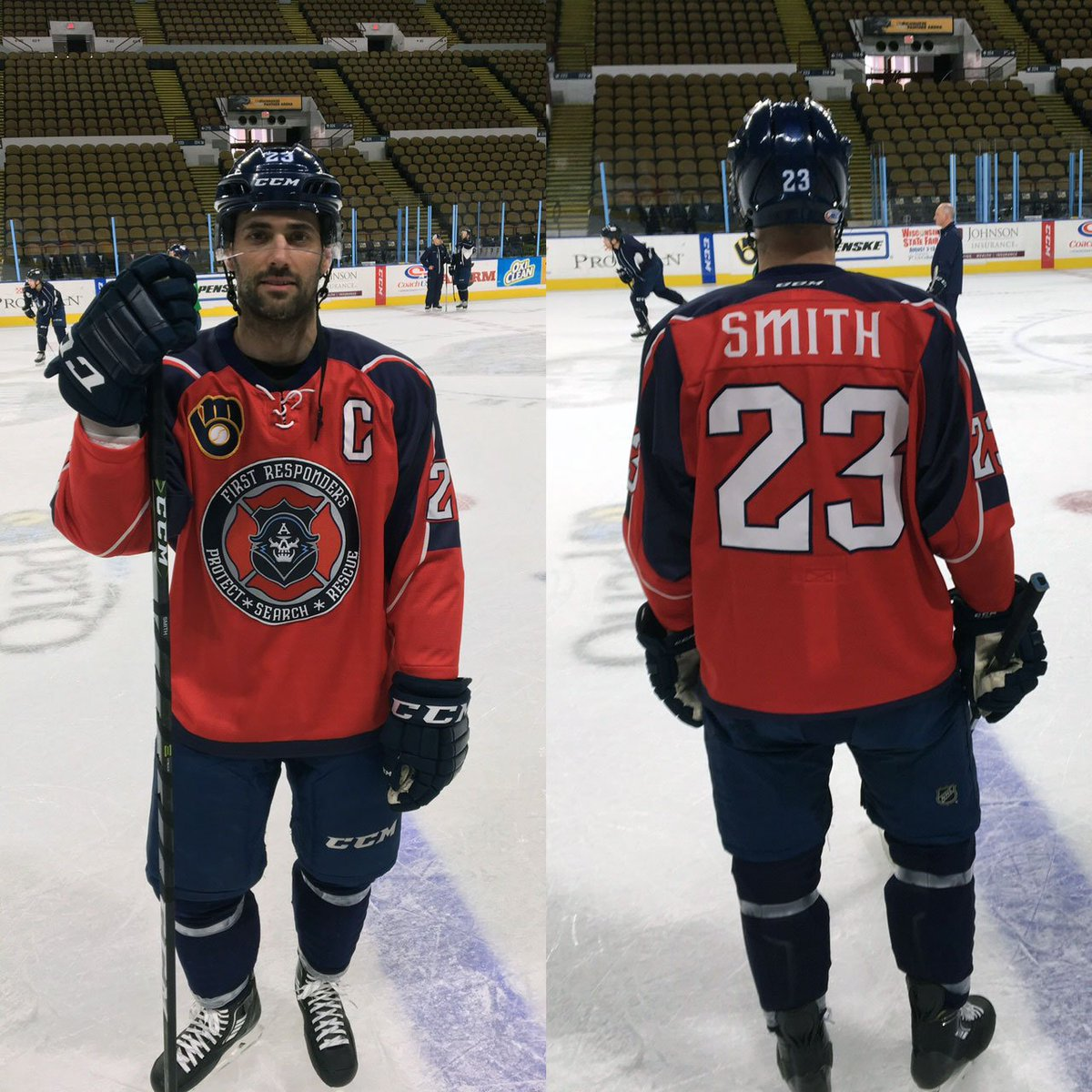 The First Responder jerseys we'll be wearing on Saturday, as modeled by the Captain! Make one your's!--> https://t.co/PDeywpHZGC https://t.co/A2BxdhrYk3