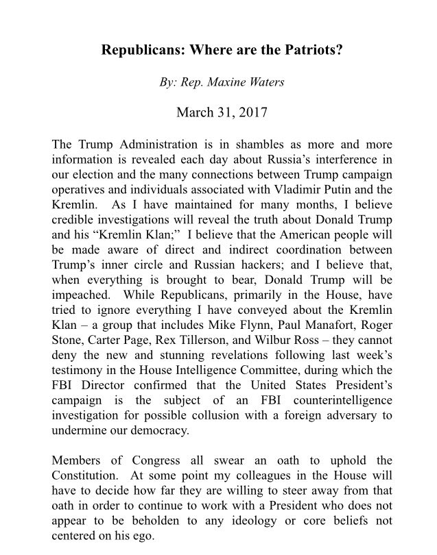 'Republicans: Where are the Patriots'? Please read my op-ed concerning the latest developments in the #Trumprussia investigation.