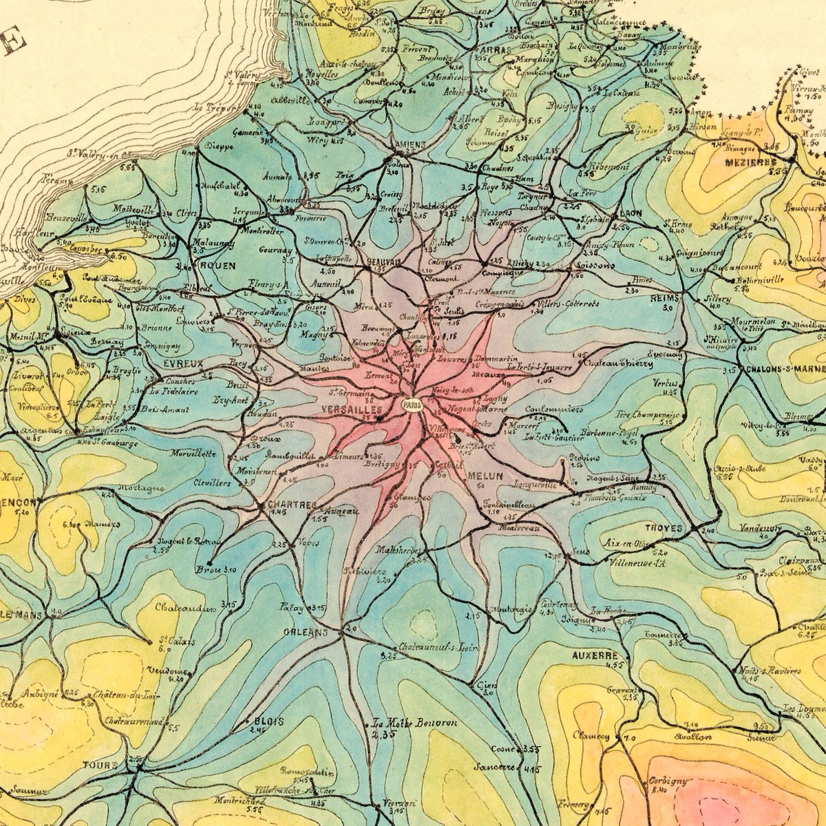 Transit maps on twitter i think im in love a stunning isochrone transit maps on twitter i think im in love a stunning isochrone map of travel times from paris by rail in 1882 making this a very early example of the gumiabroncs Gallery