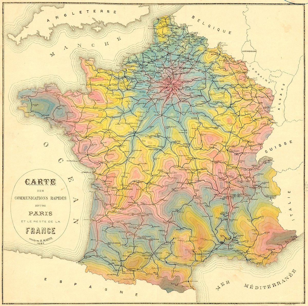Transit maps on twitter i think im in love a stunning isochrone transit maps on twitter i think im in love a stunning isochrone map of travel times from paris by rail in 1882 making this a very early example of the gumiabroncs Choice Image