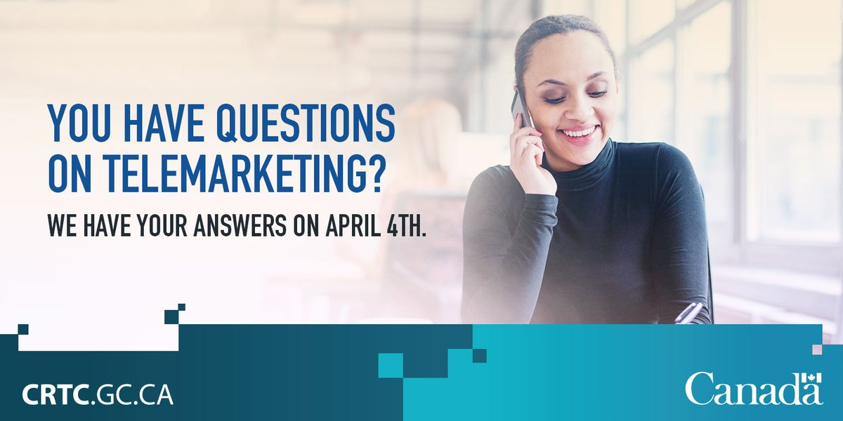 Join @CanadaBusiness for a #SMEPME Twitter chat with @CRTCeng on #telemarketing rules for SMEs! Apr. 4, noon EDT https://t.co/71OUc2Y9Ps https://t.co/O6feY51RBa