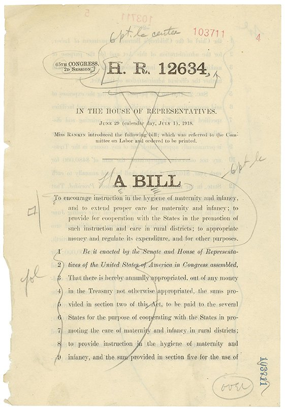 House's 1st woman introduced a bill to provide healthcare to mothers and infants in 1918. #RecordsSearch #Rankin100 https://t.co/I6U4hV08H7 https://t.co/MPi1gLq4S8