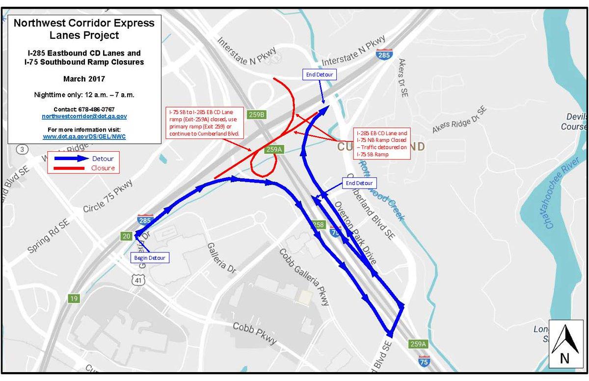 Georgia DOT On Twitter Cobb Co Offpeak Nighttime Lane Closures - Georgia map i 75