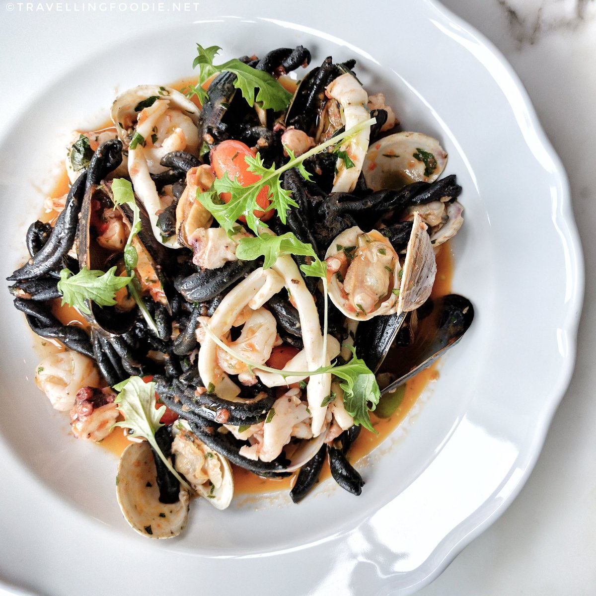 Casarecce Nero pasta at Chef Mark McEwan's Fabbrica in Toronto