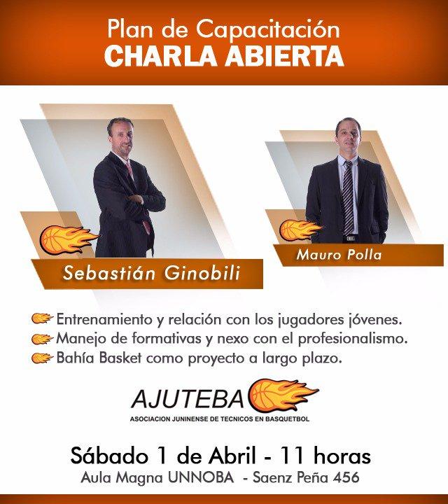 Mañana Sábado 1 a las 11 en la @unnoba_noticias Sebastian Ginobili y Mauro Polla darán una charla abierta y gratuita.