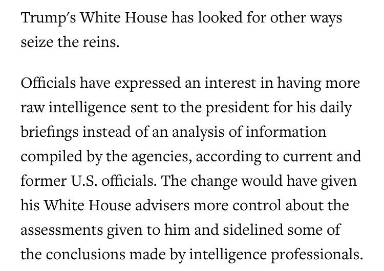 Trump's White House reportedly thinks he needs less analysis of intelligence by experts, per the AP https://t.co/PZZOgL7uB3