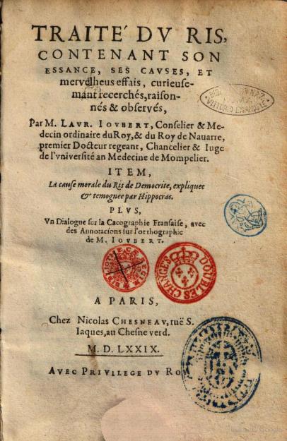 """Libros de Baubo on Twitter: """"Laurent Joubert, Traité du ris, 1579 ..."""