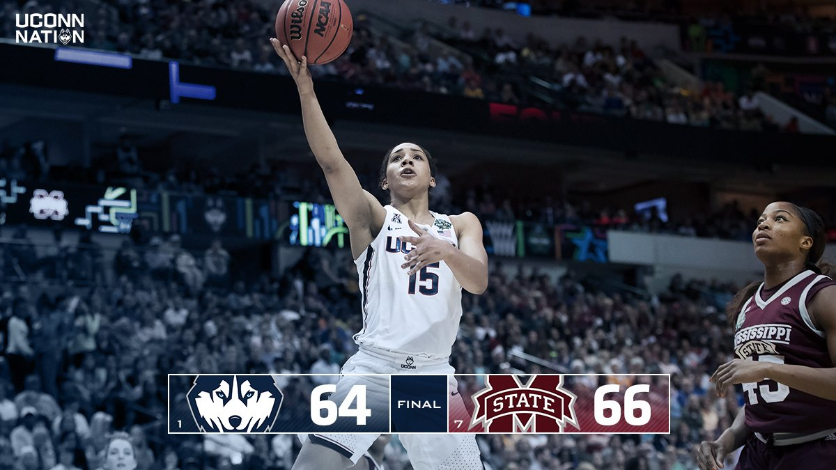 All great things must come to an end. UConn falls short of Mississippi State 66-64 in overtime of the national semifinal. #UConnNation