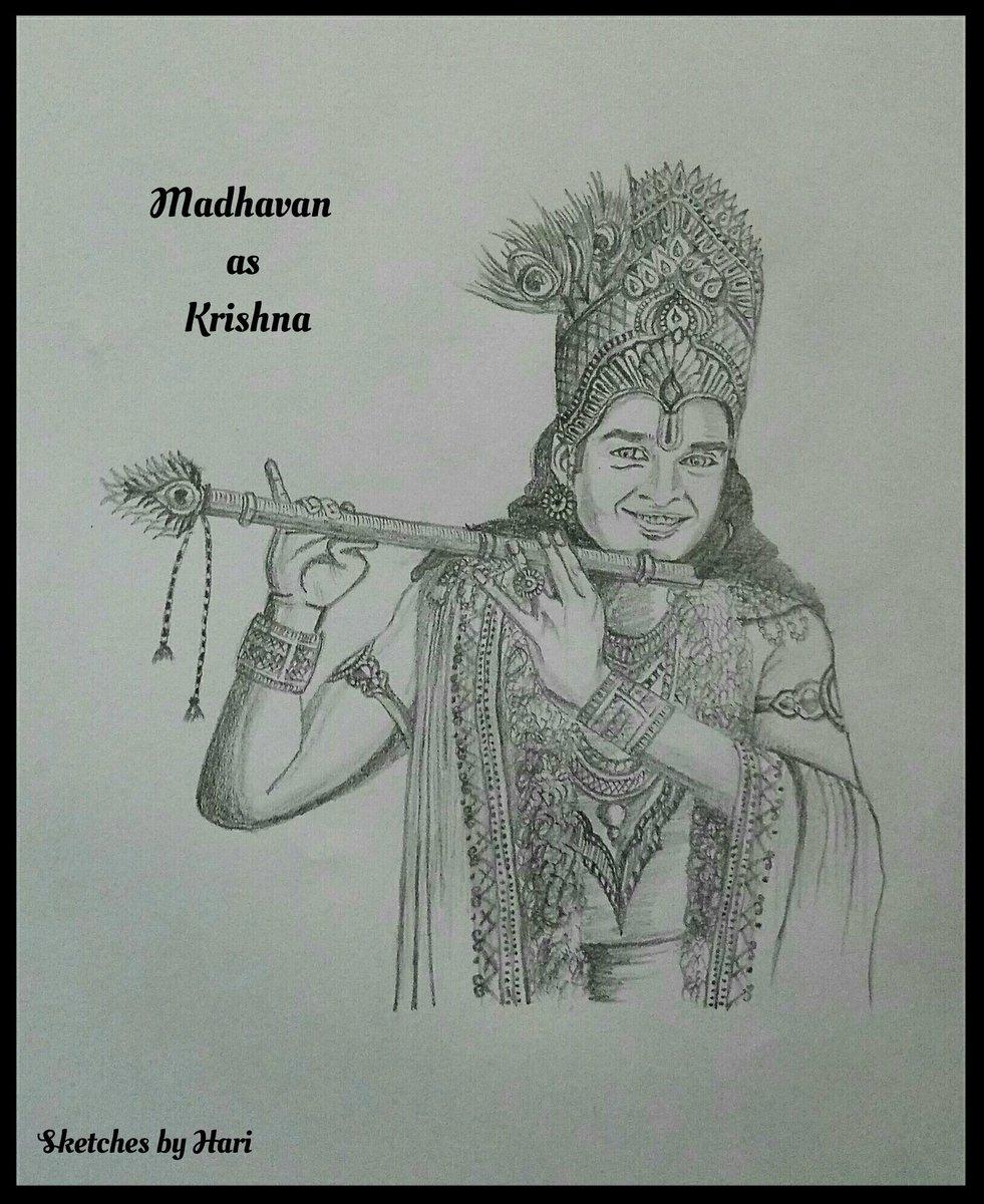 Pencil sketch an imaginary series kollywood mahabharatham kwmahabharat actormadhavan that chocolate boy maddy during minnale days as krishpic twitter com