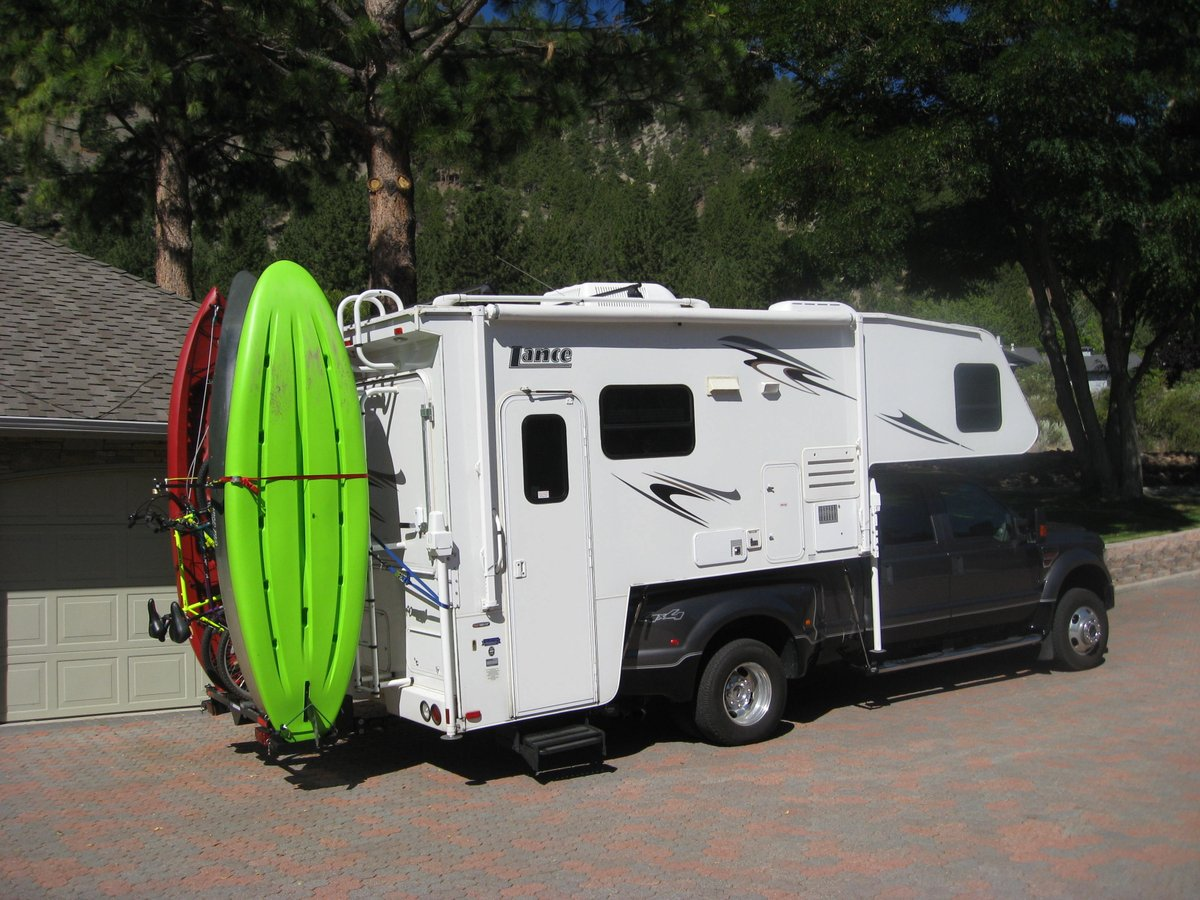 campsite goalpost racks with using transport thule or mounted a kayak along kayaks bar load canoeing hitch and your rack pin rv fifth canoes wheel