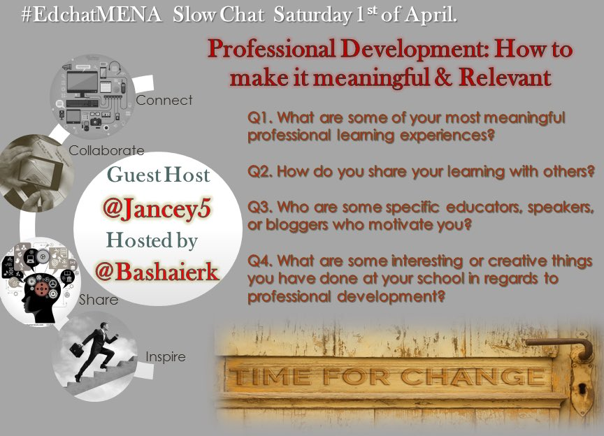 Join #edchatMENA to discuss on PD with guest host @jancey5 a slow chat today @MrsKaylaDuncan @jasonfalconio @jforeman575 @lesliefarooq https://t.co/h5bQz1EUOg