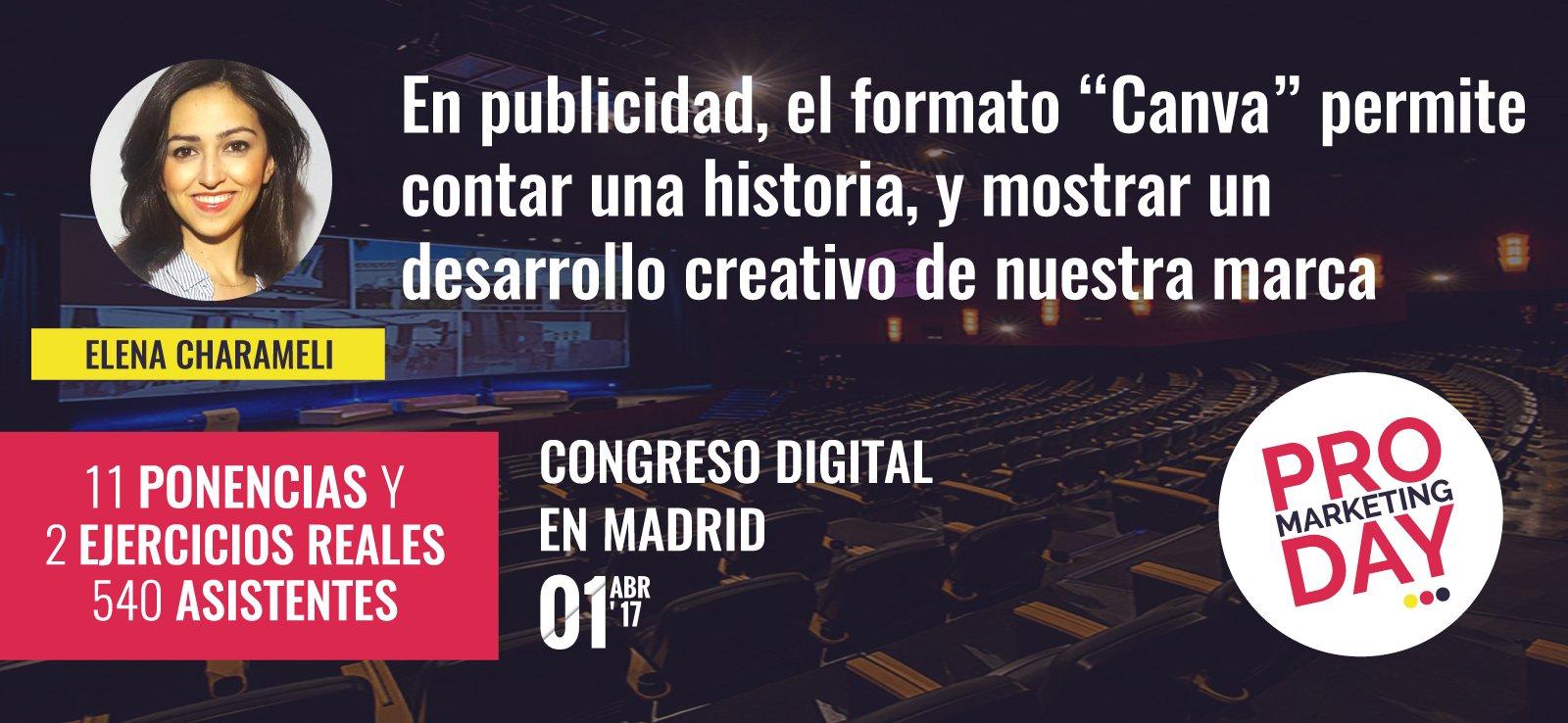 """En publicidad, el formato """"Canva"""" permite contar una historia, y mostrar un desarrollo creativo de la marca #ProMarketingDay #echarameli https://t.co/zEPSB0KbHM"""